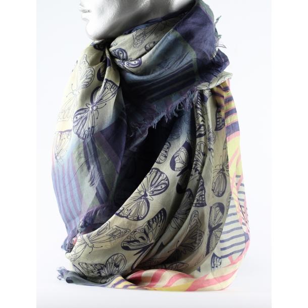 Tørklæde - 100% silke, Blue Morpho