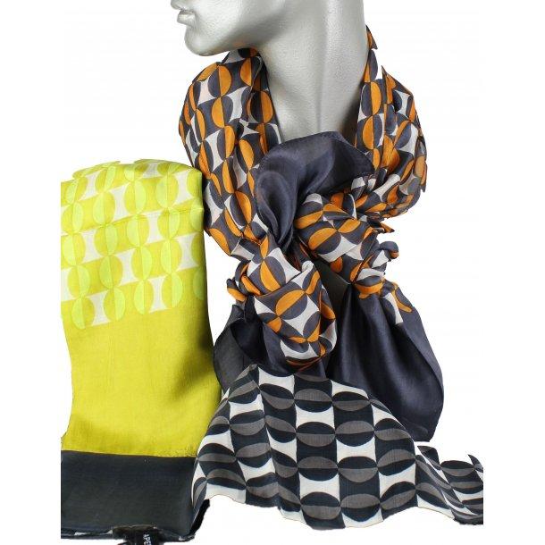 Tørklæde - 100% silke - blå/orange