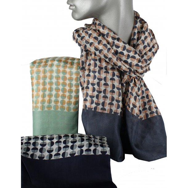 Tørklæde - 100% silke - blå/pudder