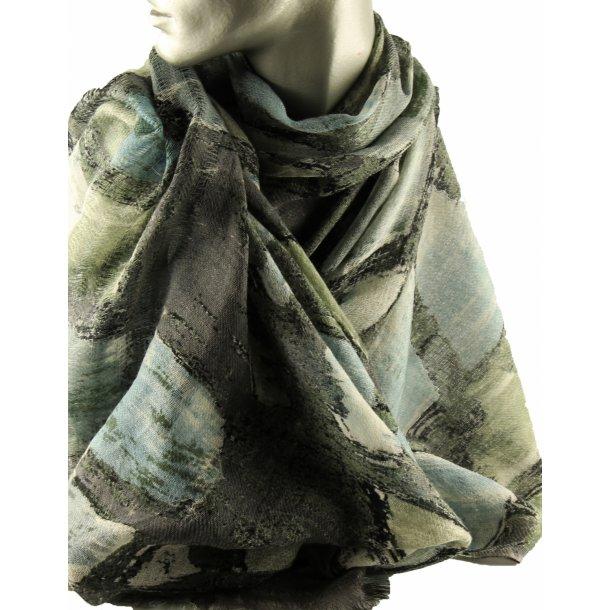 Tørklæde - 100% fin uld - Winter Rain - 33106