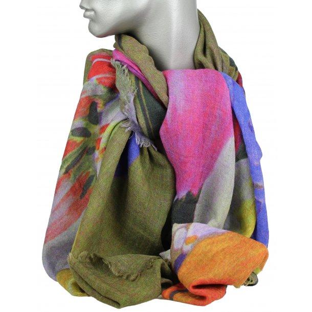 Tørklæde - 100% uld - stor blomst 33124