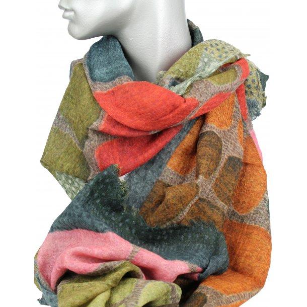 Tørklæde 100% uld - Varme efterårsfarver