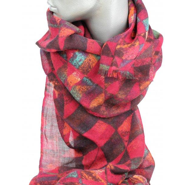 Tørklæde - 100% uld - dejligt varme farver