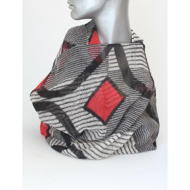 Tørklæde - Aperitif, 100% Uld, Kvadrat/rød