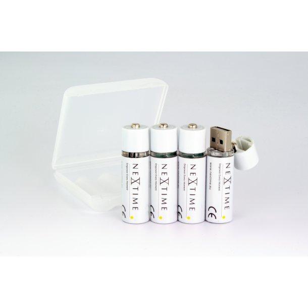 Genopladelige USB lithium batterier - 4 stk AA