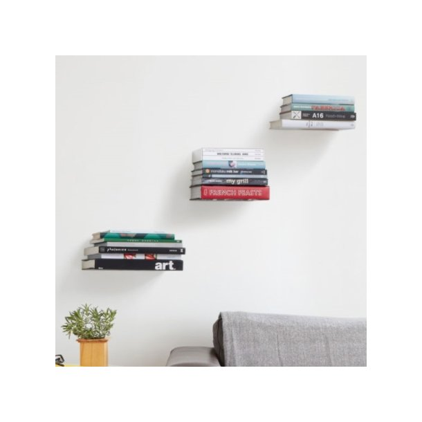 Usynlig boghylde - Sæt med 3 stk