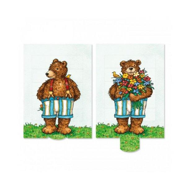 Kort - Træk ud - Bjørn med blomster